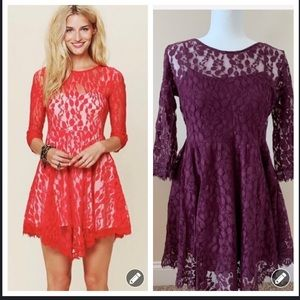 Free people mesh leaf lace overlay dress #47